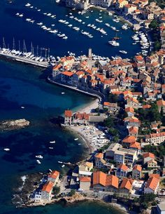Aerial view over the Island of Vis, Croatia