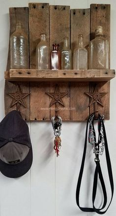 Here Is A New Piece We Just Finished! A Beautiful Handmade Rustic Key/Coat Rack With Decorative Stars And One Natural Shelf, We Hope You Like It And Have A Great Day.