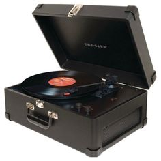 Suitcase-inspired turntable with adjustable tone control and 3 playing speeds.    Product: Turntable Construction...