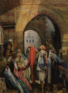John Frederick Lewis Paintings-A Cairo Bazaar - The Della 'l', 1875