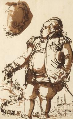 Johan Tobias Sergel 1740-1814 Landshövdingen i Uppsala, Elis Schröderheim med Uppsala i bakgrunden.  Tuschlavering 33 x 20, 5 cm. Uppsala, Tobias, Caricatures, Finland, Denmark, Norway, Ink, Drawings, Dress