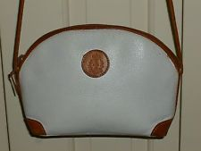 Vintage Genuine Leather Cross Body Handbag Purse White with Brown Trim Woodward