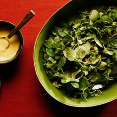 Watercress Salad With Warm Mustard Dressing / Photo by Chelsea Kyle, Prop Styling by Alex Brannian, Food Styling by Ali Nardi New Recipes, Soup Recipes, Salad Recipes, Cooking Recipes, Healthy Recipes, Favorite Recipes, Indian Recipes, Cooking Tips, Vegetarian Recipes