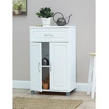 Ameriwood Home SystemBuild W x D x H 1 Drawer / 2 Door Base Storage Cabinet, White Small Bathroom Storage, Laundry Room Storage, Small Storage, Storage Spaces, Garage Laundry, Small Shelves, Storage Cabinet With Drawers, Door Storage, Storage Cabinets