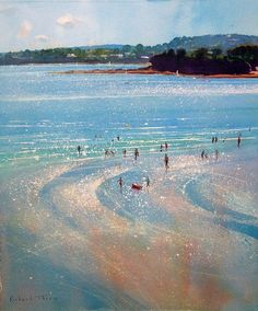Richard thorn- watercolour of cornwall. Love the way he paints the glistening sea