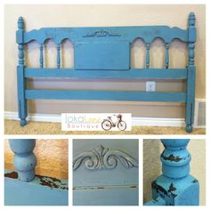 Refinished Headboard using milk paint. I love that chippy look!