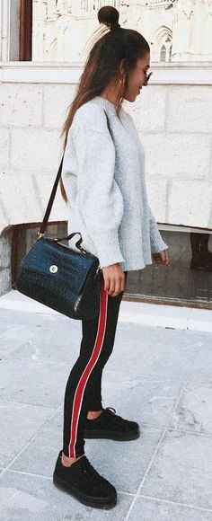 trendy outfit idea sweatshirt   bag   sneakers   stripped