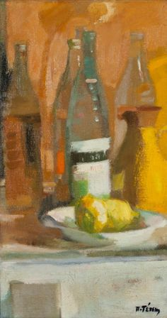 Panagiotis Tetsis (Greek, Still life with bottles and lemons signed in Greek (lower right) oil on canvas 87 x 46 cm. FOOTNOTES Painted in Greek Art, Bond Street, Kids Corner, Still Life, Oil On Canvas, Images, Fine Art, Pictures, Bottles