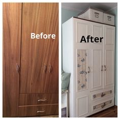 before and after, white paint, makeover, wardrobe, closet, diy