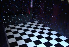 Classic black and white chequerboard dance floor with S&H star cloth DJ booth and complete star cloth draping to transform this venue White Lead, All White, Led Dance, Dance Floors, Dj Booth, Black Star, Draping, Gallery, Classic