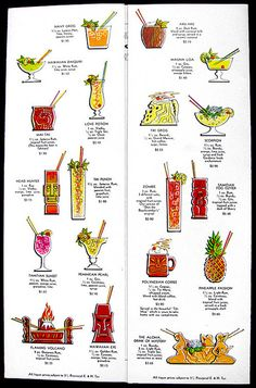 1960's cocktail menu, inside drink page  cocktail menu from Ky-Tiki, Regina Inn- Regina, SK, Canada