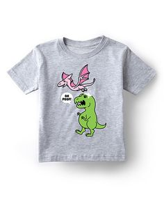 This Cotton Jungle Athletic Heather 'Oh Poop' Dino Tee - Toddler & Kids by Cotton Jungle is perfect! #zulilyfinds