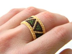 Geometric ring. Wide peyote ring This ring made with Miyuki delica seed beads.  Band width - 13 mm Size - 8.5 (US)  More peyote rings (seed bead rings) from my shop you can see here: https://www.etsy.com/shop/HappyBeadwork?section_id=18818205
