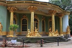 Potsdam, Berlin Germany...  Chinese Tea House  One of the most photographed places in Park Sanssouci is the Chinese Tea House. The circular pavilion was constructed between 1755 and 1764, when Chinese art was very popular. Frederick the Great had it built as a decorative piece, but the Chinese Tea House was also used for social events. The building has a central hall with three study rooms and is now used to display a collection of Chinese Porcelain.