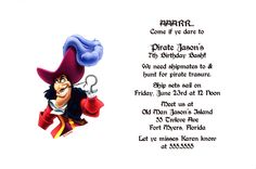Peter Pan's Captain Hook Party Invitation. Can be used for any occasion. By www.TCWDESIGNS.com Disney Invitations, Party Invitations, Set Sail, Announcement Cards, Captain Hook, Birthday Bash, Peter Pan, Birthdays, How To Plan