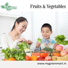 Keep calm & eat fruits plus vegetables Fruit Plus, Eat Fruit, Keep Calm, Vegetables, Gallery, Green, Stay Calm, Veggies, Veggie Food