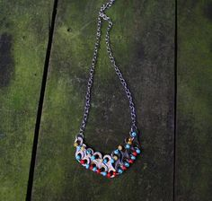 Beaded Bike Chain Necklace by BeadedBikeBling on Etsy