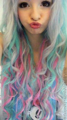Pink, blue, white, green hair