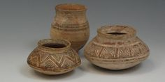 indus valley painted pot | Indus Valley Bronze Age - Three Pottery Vessels