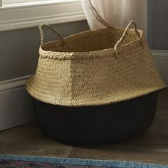 Woven from seagrass, this sturdy color-dipped storage basket lends a fresh feel to everyday organization. Use it to corral magazines, toys, or other not-in-use treasures. Fabric Storage Boxes, Fabric Bins, Storage Containers, Storage Baskets, Storage Organization, Plastic Baskets, Wicker Baskets, Decorative Storage, Decorative Accessories