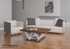 Τραπεζάκι σαλονιού , ιδιαίτερου design by DECOgeppetto , συνδυασμένο με λευκή απόχρωση λάκας και επένδυση σκούρας δρυς