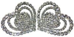 One-pair Triple Heart Rhinestone Shoe Clip
