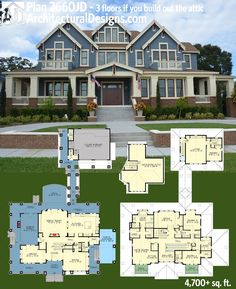 Get over 4,700 square feet of living and up to 3 floors if you build out the attic with Architectural Designs Luxury House Plan 23660JD. Over 50 photos online. Ready when you are. Where do YOU want to build?