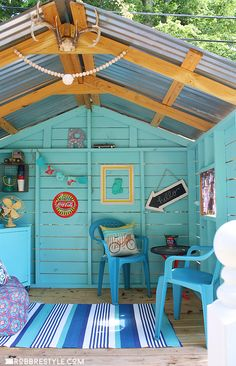 DIY Backyard Playhouse Makeover - We painted the hideaway decorated it with our favorite vintage finds to create a unique space for our boys to hang out in the backyard.