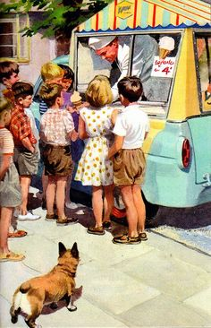 Retro summer ice cream truck illustration from 7a - Happy Holiday - The Ladybird Key Words Reading Scheme (The Peter and Jane Books) by William Murray, illustrated by J H Wingfield, 1964. Where is *my* shiny, pastel blue ice cream truck? Where is *my* ice cream hound of a corgi? Modern times are (very occasionally) unfair.