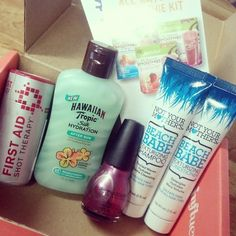 Excited to try out the goodies in my #SurfsUpVoxBox from @influenster! #JambaJuice #EscapeWithHT #FASTRelief #SinfulColors #NYMBeachBabe