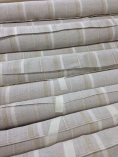 """New drapery weight linen stripe named """"scandia"""" comes in 5 color ways."""