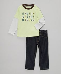 Take a look at this Lime Fingerprint Layered Tee & Jeans - Infant, Toddler & Boys by Calvin Klein Jeans on #zulily today!