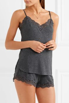 ace0f75d979d Gray ribbed-knit and lace Slips on 44% polyester