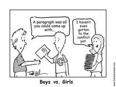 A paragraph. Boys vs. Girls