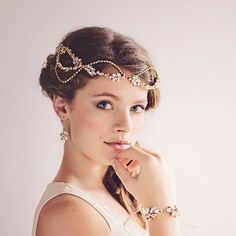 Gatsby Bridal Headpiece Tiara, Gold Crystal Hairvine , The Daisy Couture Headpiece #hairpieces #asiawedding #asiaweddingnetwork