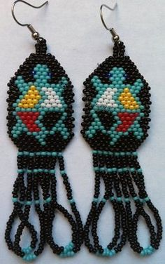 Beaded Turtle Earrings Beaded Earrings Native, Beaded Earrings Patterns, Seed Bead Patterns, Native Beadwork, Beading Patterns, Bead Earrings, Brick Patterns, Bead Jewellery, Seed Bead Jewelry