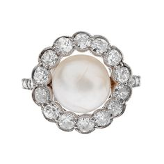 Art Deco Pearl Diamond Platinum Ring