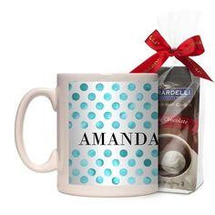 Watercolor Dots Mug, White, with Ghirardelli Premium Hot Cocoa, 11 oz, Blue