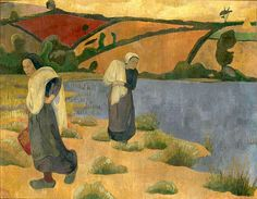 Paul Sérusier — Les Laveuses à la Laïta (1892)-In the summer of 1892 Sérusier returned to Brittany, to the small village Huelgoat. Huelgoat became the place of his work for the next two years. His subjects were Breton peasants, their figures monumental and solid. The painter's palette too had changed, he no longer used pure colors, but toned them down with gray.
