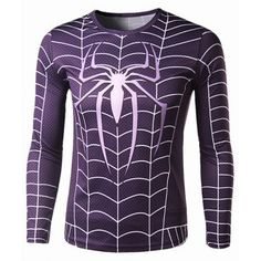 c88549e87 Slimming Round Neck Stylish Spider-Man Print Long Sleeve Polyester Men s  Quick-Dry T-Shirt
