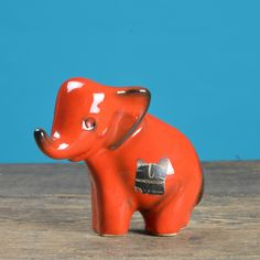 1960's Elephant Ceramic Figurine #1950s #1960s #albert-strunz #black #ceramic #cortendorf #elephant #firurine #germany #mid-century #mid-century-pottery #pottery #red #vintage #west-germany