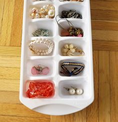 If you have a set of drawers or a safe that isn't organized, head to the Dollar Store and pick up some ice cube trays for some inexpensive jewelry storage options. Another bonus? They stack! Want to save even more money? Use old egg cartons.