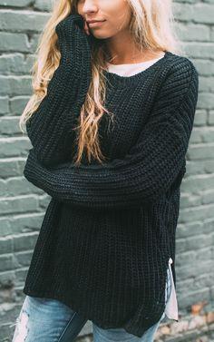 Black Chunky Knit Sweater