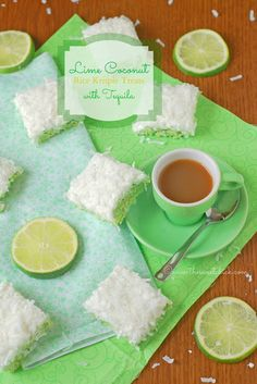 Lime Coconut Rice Krispie Treats with Tequila