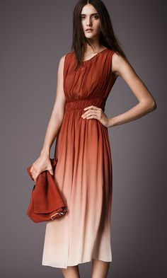 Orange Brown Ombre Maxi Dress Burberry Dip Dyed