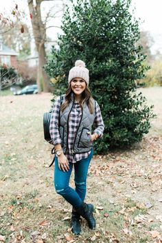 Winter Outfits to Copy // J. Crew Vest, Moto Boots, Henri Bendel Backpack, Pompom Beanie