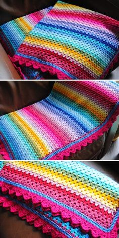 Granny Stripe Crochet, Granny Stripe Blanket, Crochet Blanket Border, Striped Crochet Blanket, Rainbow Crochet, Crochet Quilt, Afghan Crochet Patterns, Crochet Stitches, Free Crochet