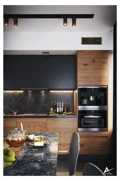 Kitchen Island Storage, Modern Kitchen Island, Modern Kitchen Cabinets, Kitchen Cabinet Design, Modern Kitchen Design, Interior Design Kitchen, Kitchen Decor, Kitchen Islands, Kitchen Ideas