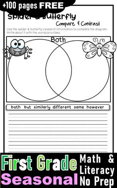 Free first grade activities and worksheets. free printables for first grade learning. Lots of awesome literacy and math worksheets to engage your students to learn about spring, summer , fall and winter with fun. First Grade Worksheets, First Grade Activities, Teaching First Grade, First Grade Classroom, First Grade Math, Math Worksheets, Math Literacy, Literacy Activities, Literacy Centers
