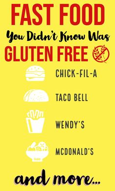 A guide to help you find options that are gluten free when you have to (or want to) get fast food. Find tasty gluten free fast food options even when eating at popular fast food chains like McDonald's, Wendy's, Dunkin Donuts, Taco Bell, and more. Vegan Fast Food Options, Gluten Free Fast Food, Best Gluten Free Recipes, Allergy Free Recipes, Gluten Free Dinner, Free Food, Vegan Recipes, Fast Healthy Meals, Healthy Food